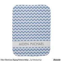 Chic Chevrons Zigzag Pattern Baby Names Burp Cloth