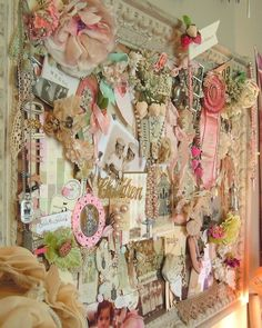 I'd be worried about dust ... but ... Original pinner sez: this board is a nice idea for a craftroom to hang ideas and embelishments on it