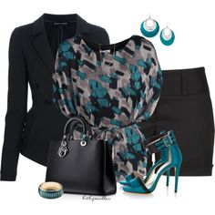 """""""Teal & Black Shorts Suit"""" by bitbyacullen on Polyvore"""