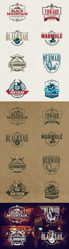 8 Retro Badges & Insignias for Cafe, Bar, Pub, Tavern and Restaurant #design Download: https://creativemarket.com/sgcanturk/369477-Cafe-Bar-Badge-Logos?u=ksioks