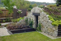 Garden Landscape Design, Landscape Walls, Back Gardens, Outdoor Gardens, Garage Guest House, Outdoor Buildings, Stone Cottages, Root Cellar, Earthship