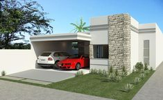ProjetarCasas: Planta de Casas | Planta casa moderna, 3 Quartos, 1 Suíte, 2 garagens e varanda gourmet. - Cód 58