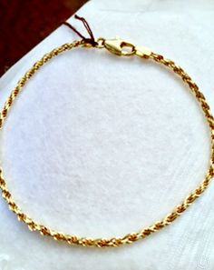 "14K Yellow Gold Rope Chain 8"" Bracelet Italy"