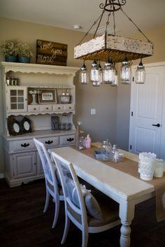 dinning room with handmade mason jar chandelier Mason Jar Chandelier, Mason Jar Lighting, Kitchen Buffet, Kitchen Decor, Shabby Chic Farmhouse, Farmhouse Decor, Recycled Furniture, Mason Jar Diy, Home Kitchens