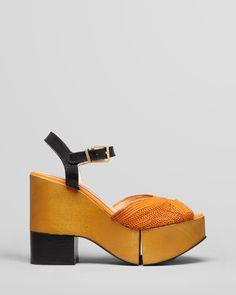 Robert Clergerie Peep Toe Platform Wedge Sandals - Dress Raffia | Bloomingdale's