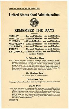 "US Food Administration Day Guide -- WWI ""I'll take my humble pie with a side of perspective, please."" This helps start a day with an attitude of gratitude."