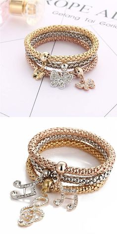 Fashion Anchor Elephant Music Note Butterfly Crown Drop Multi-layer Women Bracelet #anchor #music #Bracelet