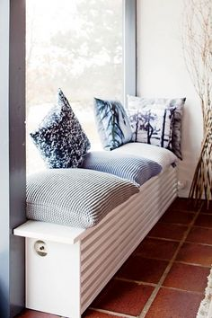 We love how this radiator cover has doubled up into a cosy window seat! We love how this radiator cover has doubled up into a cosy window seat! Home Radiators, Heating Radiators, Home And Living, Living Room, Living Area, Window Benches, Window Seats, Famous Interior Designers, Home Decor Bedroom
