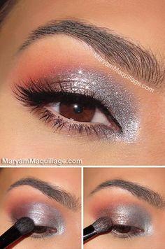 Metallic eye makeup: