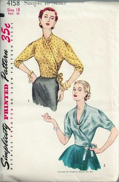 STUNNING Surplice Wrap Around Blouse Pattern SIMPLICITY 4158 Day or Evening Blouse Simple To Make Bust 36 Vintage Sewing Pattern-Authentic vintage sewing patterns: This is a fabulous original dress making pattern, not a copy. Because the sewing Vintage Dress Patterns, Vintage Skirt, Clothing Patterns, Retro Clothing, Retro Fashion, Vintage Fashion, Vintage Style, Retro Style, Evening Blouses