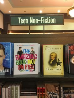 Hamilton<<< really? You're going to point out the Hamilton book when the more important books are surrounding it? The Amazing book is not on fire, The pointless book,  and caspar lee ❤