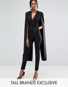 Lavish Alice Tall | Lavish Alice Tall Wrap Front Jumpsuit With Cape Back Detail