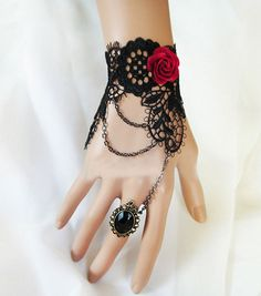 Red Rose wedding party black vintage lace by whitegardenlace, $12.99