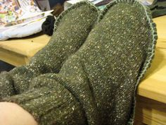 Just in tome for Fall,slippers from old sweater Warm and homemade!