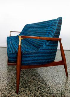 Ib Kofod-Larsen; Wood and Brass Sofa, 1950s.