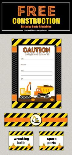 Free Construction Birthday Party Printables | By Amber via LuvibeeKids Co.
