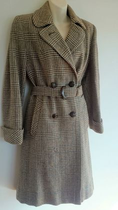 Made in Scotland ~ 1950 s Vintage Retro 100% wool jacket TRENCH COAT Dress M 5f1a1e2ca6