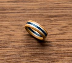 Wooden Ring - Skateboard Ring - Wedding Band - Canadian Maple - Ecological Jewelry - Waterproof - Skate Ring -Blue - Boyfriend Gift -
