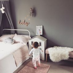 A whimsical bedroom for a little girl. Products are from Instagram stores and the dolls house was a garage sale diy so up! #whimsical #babygirl #decor #diy