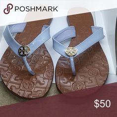 4bdc0b96379 Tory Burch Leather Sandals Tory Burch Leather Flip Flops sky Blue straps.  Gold Tory Burch