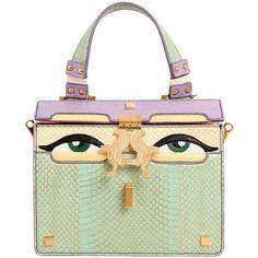 Giancarlo Petriglia Women Mini Peggy Eyes Elaphe & Leather Bag (€1.140) ❤ liked on Polyvore featuring bags, handbags, purses, light green, leather man bags, kiss-lock handbags, leather hand bags, leather purses and hand bags