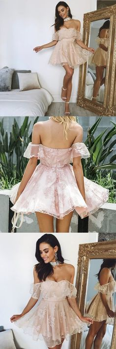 Off Shoulder Homecoming Dress, Tulle Homecoming Dress, Applique Homecoming Dress#okbridal.co.uk#homecoming#homecomingdress