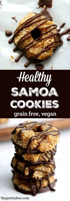 No-Bake Samoa Cookies (Grain Free, Vegan). Healthy and delicious no-bake samoa cookies - these are a treat that your whole family will love!Healthy and delicious no-bake samoa cookies - these are a treat that your whole family will love! Coconut Dessert, Oreo Dessert, Dessert Party, Healthy No Bake Cookies, Healthy Sweets, Healthy Vegan Cookies, Vegan Sugar Cookies, Dairy Free Cookies, Baking Cookies