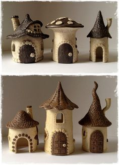 ceramic houses - Hobbies paining body for kids and adult Clay Fairy House, Fairy Houses, Garden Houses, Clay Houses, Ceramic Houses, Fairy Crafts, Garden Crafts, Polymer Clay Crafts, Diy Clay