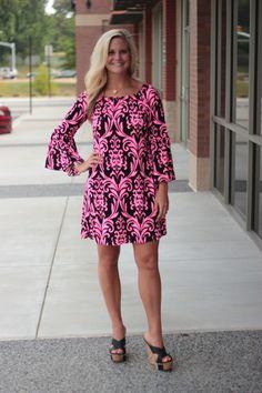 Damask and Sass *LONG* Tunic/Dress - Pink/Black, $38.00