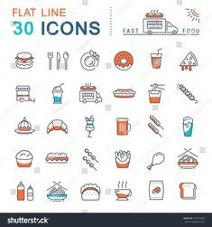 Set vector line icons in flat design fast food and Chinese food with elements for mobile concepts and web apps. Collection modern infographic logo and pictogram. Design Logo, Design Poster, Site Design, App Design, Icon Design, Website Layout, Web Layout, Flat Design Inspiration, Clean Web Design