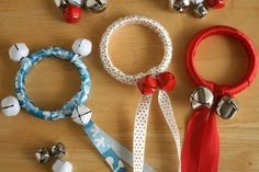 Jingle Bell Ribbon Rings Tutorial: This delightful ribbon craft brings all the fun of jingle bells into your home with an easy Christmas craft that you can do with your children. They also make lovely tree ornaments.