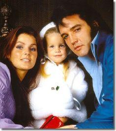 Priscilla, Lisa Marie & Elvis Presley around 1970