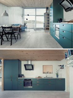 A brightly colored teal blue kitchen with a white tile backsplash lines one wall of this small home.