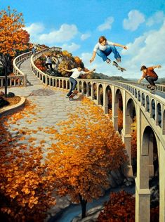 Illusion Art : Rob Gonsalves is an artist from Toronto, Canada. His art works are mixing of creativity and optical illusion. Optical Illusion Paintings, Amazing Optical Illusions, Art Optical, Illusion Kunst, Illusion Art, Canadian Painters, Canadian Artists, 3d Street Art, Magic Realism