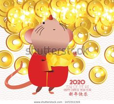 中国新年快乐2020年。鼠年 / Cartoon Cute Rat Carrying Big Chinese Stock Vector (Royalty Free) 1472311319