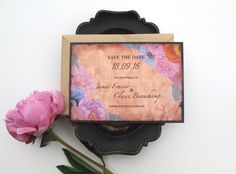 Rustic Bouquet Wedding Save the Date  by islapaperpress on Etsy