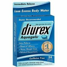 Diurex Aquagels Soft Gel Caps, 24 ct by Diurex. $3.00. * Doctor recommended for hour after hour menstrual and premenstrual discomfort relief    * For the relief of temporary water weight gain, bloating, swelling, and full feeling associated with the premenstrual and menstrual periods.    * Lose excess body water    * Maximum relief formula    * Caffeine free and aspirin free