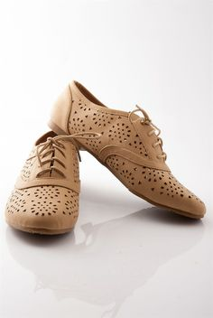 Hole Bag of Tricks Perforated Lace Up Oxford Flats - Camel