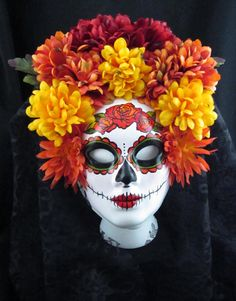 Autumn Harvest Mask for Day of the Dead/Dia de los Muertos/Halloween/Masquerade/Costume