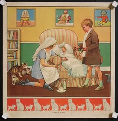 Educational poster 1930s to teach children activities with cat family