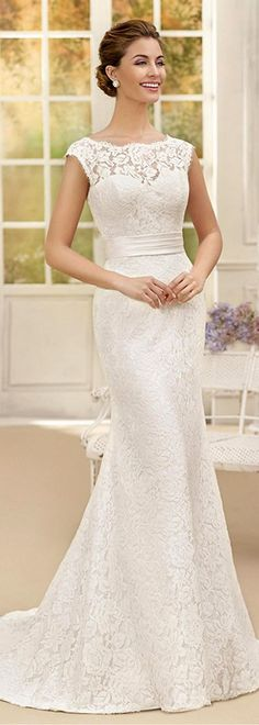 Modest Lace & Satin Bateau Neckline Sheath Wedding Dresses