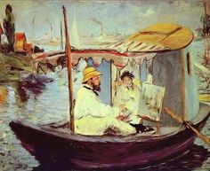 """Claude Monet Painting on His Studio Boat,"" by Édouard Manet, 1874. The shadowy female figure sitting with the artist is his wife and model Camille Doncieux Monet.   at Argenteuil,  village just outside of Paris. A spectacular stretch of the Seine, Shortly after moving there in 1871, Monet bought a boat and converted it into a floating studio. He kept it moored near his home and used it to get a vista of the riverbank from the water."