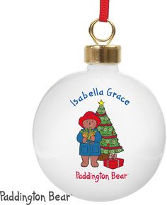 Spread Christmas cheer with this delightful personalised Paddington Christmas Bauble.  #ChristmasGifts