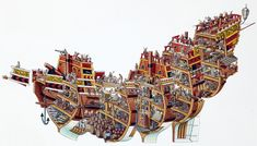 Spanish Galleon Cross-section drawing of a Spanish Galleon. First appeared in 'Stephen Biesty's Incredible Cross-Sections' published by Dorling Kindersley Watercolour and rotring pen on paper x Copyright Dorling Kindersley 1992 Rotring Pens, Spanish Galleon, Section Drawing, Cross Section, Wooden Ship, Ship Art, Model Ships, Tall Ships, Cutaway
