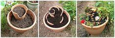 Crea hermosos mini jardines reutilizando macetas rotas - Dale Detalles