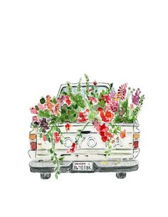 Drawing Flowers I just have to share this adorable watercolor, by artist of our sweet old farm truck filled with flowers. Hope it brightens your day as much as it did mine! Art Watercolor, Watercolor Flowers, Watercolor Stickers, Drawing Flowers, Painting Flowers, Art Flowers, Flower Art, Painting Inspiration, Art Inspo