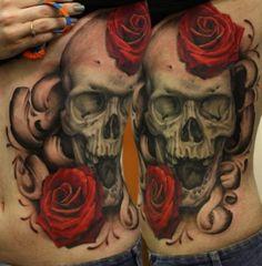 Black and grey skull with red roses by John Anderton #InkedMagazine #InkedMag #Inked #blackandgrey #skull #roses #floral #tattoo #tattoos