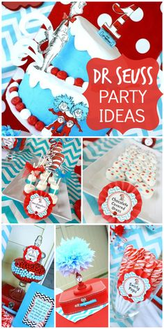 red and aqua birthday party for twins with a Dr. Seuss Thing 1 and Thing 2 theme! See more party ideas at ! Dr Seuss Birthday Party, Twin Birthday Parties, Twin First Birthday, Birthday Themes For Boys, Birthday Party Themes, Birthday Ideas, Baseball Birthday, Cake Birthday, Birthday Bash