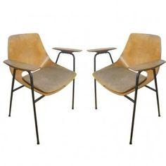 Pair of Rare Tonneau Armchairs designed by Pierre Guariche Pierre Guariche, Modern Furniture, Dining Chairs, Armchairs, Furnitures, Designer, Medium, Home Decor, Vintage