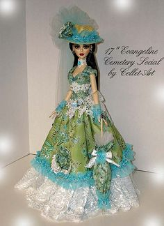 """2011 OOAK GOWN OUTFIT 17"""" EVANGELINE GHASTLY """"CEMETERY SOCIAL"""" TONNER WILDE IMAGINATION 